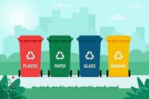 bidoni della spazzatura per rifiuti organici, carta, plastica, vetro sullo sfondo della città vettore
