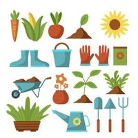 un'ampia varietà di attrezzi e piante da giardinaggio vettore