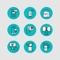 design di icone di movimento senza contatto per una nuova normalità vettore