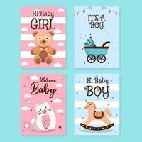 collezione di carte baby shower vettore