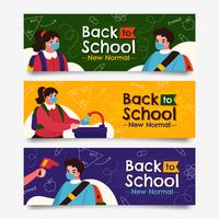 torna a scuola con la nuova raccolta di banner di protocollo vettore