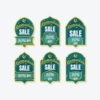 felice etichetta di vendita del ramadan vettore