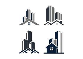 insieme di vettore dell'illustrazione dell'icona della costruzione del grattacielo