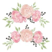 rosa peonia acquerello composizione floreale set vettore