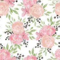 acquerello rosa peonia motivo floreale senza soluzione di continuità vettore
