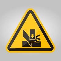 attenzione alla mano quando si utilizza il segno simbolo della serigrafia isolare su sfondo bianco, illustrazione vettoriale eps.10
