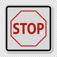 avvertimento di arresto del segnale stradale del traffico su sfondo trasparente vettore
