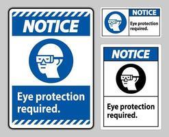 avviso segno protezione per gli occhi necessaria su sfondo bianco vettore