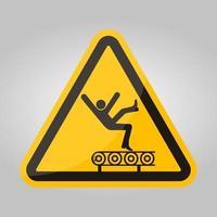 pericolo di caduta dal segno simbolo del trasportatore, illustrazione vettoriale, isolato su sfondo bianco etichetta .eps10 vettore