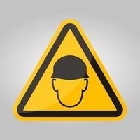 indossare casco segno simbolo isolare su sfondo bianco, illustrazione vettoriale eps.10