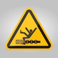 avvertire il trasportatore esposto e le parti in movimento causeranno lesioni al servizio o simbolo di morte isolato su sfondo bianco, illustrazione vettoriale