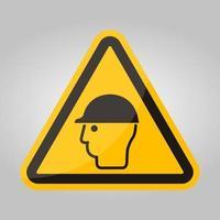 simbolo indossare protezione della testa isolare su sfondo bianco, illustrazione vettoriale eps.10
