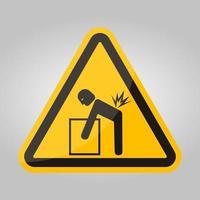 simbolo di pericolo di sollevamento segno isolato su sfondo bianco, illustrazione vettoriale eps.10