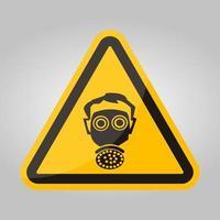 simbolo di indossare il segno di protezione del respiratore isolato su sfondo bianco, illustrazione eps.10 di vettore