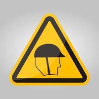 simbolo di protezione della testa di usura segno isolare su sfondo bianco, illustrazione vettoriale eps.10