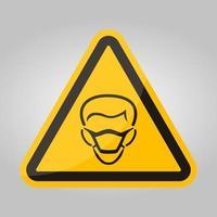 icona ppe. indossare maschera simbolo segno isolato su sfondo bianco, illustrazione vettoriale eps.10