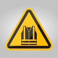 icona ppe. indossare abbigliamento ad alta visibilità simbolo segno isolato su sfondo bianco, illustrazione vettoriale eps.10