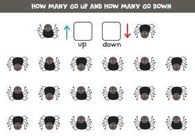 a sinistra oa destra con un simpatico ragno. foglio di lavoro logico per bambini in età prescolare. vettore