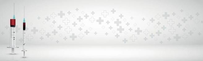 panorama di sfondo grigio volumetrico medico con molte croci vettore