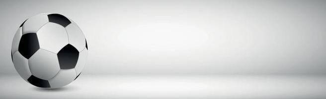pallone da calcio realistico su uno sfondo grigio vettore