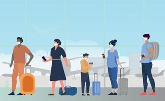 una grande coda di persone nell'edificio dell'aeroporto in attesa di imbarco vettore