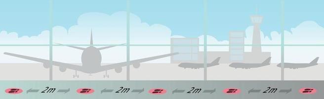 distanza sociale e segnaletica orizzontale di corsia in un grande aeroporto vettore