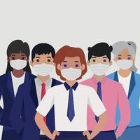 gruppo di persone in maschere mediche sterili - vettore