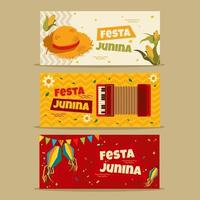 set di banner festa junina vettore