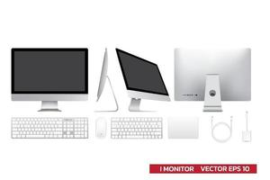 display mockup monitor con accessori, tastiera, mouse, track pad, adattatore cavo USB, illustrazione vettoriale realistica per grafica mockup, tutto in un display su sfondo bianco.