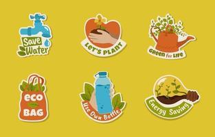 collezione di badge per la giornata della terra vettore