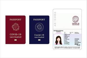 passaporto per chi ha l'iniezione di vaccino covid-19, passaporto vaccinato contro il coronavirus per viaggiatori o uomini d'affari che si identificano, illustrazione vettoriale su sfondo bianco.