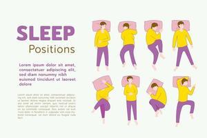 posizioni di sonno dell'essere umano, come l'essere umano in posa può essere durante il sonno, illustrazione vettoriale piatta