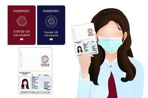 passaporto per chi ha l'iniezione di vaccino covid-19, passaporto vaccinato contro il coronavirus per viaggiatori o uomini d'affari che si identificano, la ragazza ha mostrato l'illustrazione del passaporto su sfondo bianco. vettore