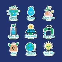 set di adesivi per la consapevolezza della giornata della terra vettore