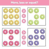 più, meno o uguale. gioco di matematica educativo per bambini in età prescolare e in età scolare. ciambelle. vettore