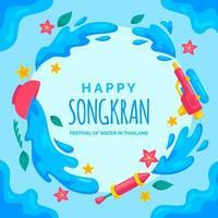 sfondo di songkran in stile design piatto vettore
