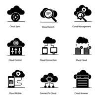 tecnologia cloud e web hosting vettore