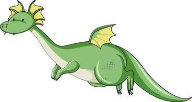simpatico personaggio dei cartoni animati di volo del drago isolato su priorità bassa bianca vettore