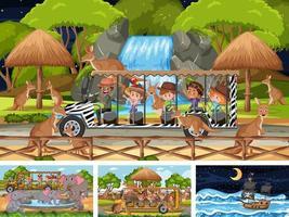 set di scene diverse con nave pirata al mare e animali nello zoo vettore