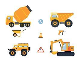 set di autovetture e macchine edili per lavori edili. illustrazione vettoriale. vettore