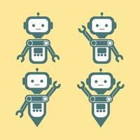 set di immagine vettoriale robot in metallo