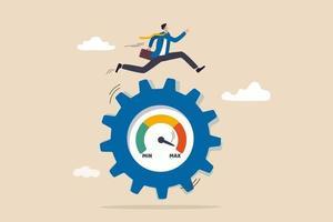 valutazione delle prestazioni lavorative, piena efficienza o massima produttività, ambizione o motivazione alla crescita nel concetto di business, uomo d'affari ambizioso che corre a tutta velocità per ruotare l'ingranaggio della ruota dentata di misura. vettore