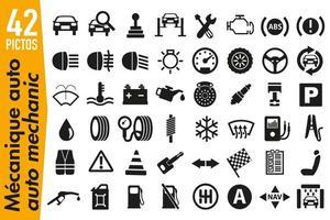 pittogrammi di segnaletica sul tema della meccanica automobilistica vettore