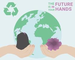 le mani umane tengono in mano un sacco della spazzatura e un fiore. concetto di riciclaggio illustrazione. perfetto per pubblicazioni su Internet o stampa. vettore