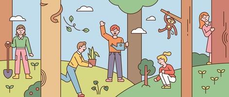 sullo sfondo della foresta, le persone si prendono cura della natura. vettore