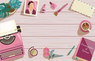felice giorno di kartini donne scrivania sfondo vettore