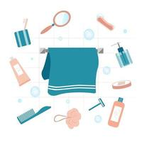 set di oggetti per il bagno vettore