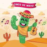 cartone animato del festival cinco de mayo vettore