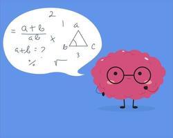 cervello kawaii che cerca di risolvere la matematica vettore