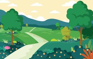 natura primavera con sfondo paesaggio vettore